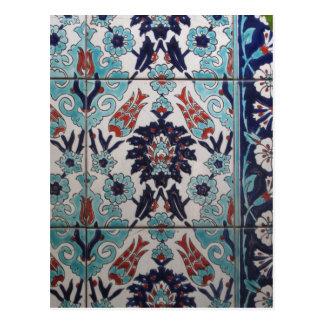 Vintager blauer und weißer Ottomanfliesenentwurf Postkarte