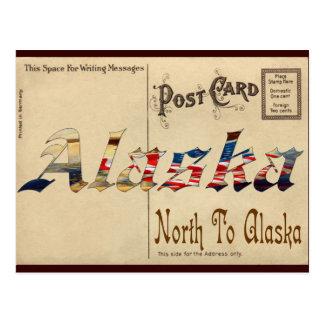 Vintager Blick-alte Postkarte mit Alaska
