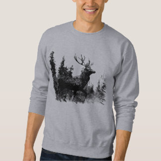 Vintager Blick Hirsch in Schwarzweiss, Sweatshirt