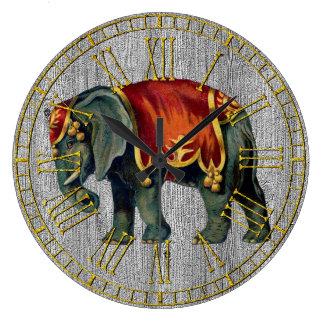 Vintager Blick-Zirkus-Elefant Große Wanduhr