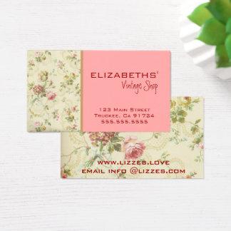 Vintager Blumen-Pfirsich Visitenkarte