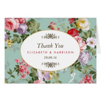 Vintager Blumengarten-botanische Hochzeit danken Mitteilungskarte