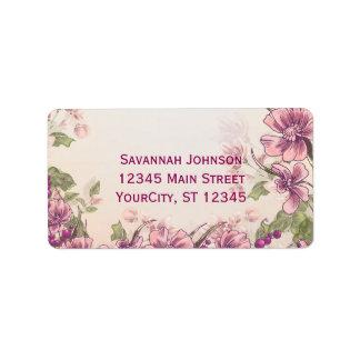 Vintager Blumengarten-kundenspezifische Adressaufkleber