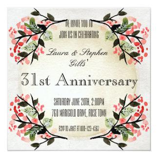 Vintager Blumenrahmen-Hochzeits-Jahrestag Karte