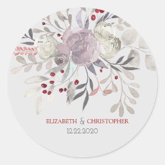 Vintager Blumenwatercolor-botanische Hochzeit Runder Aufkleber