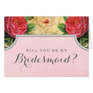 Vintager Blumenwille sind Sie meine Mitteilungskarte