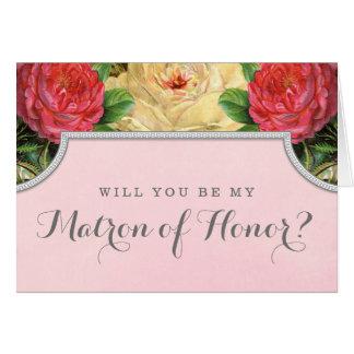 Vintager Blumenwille sind Sie meine Matrone der Mitteilungskarte