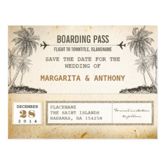 Vintager Boardingdurchlauf der Strandpalmen Save t Postkarte