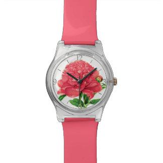 Vintager botanischer Druck, korallenrote rosa Armbanduhr