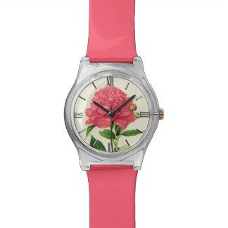 Vintager botanischer Druck, korallenrote rosa Uhr