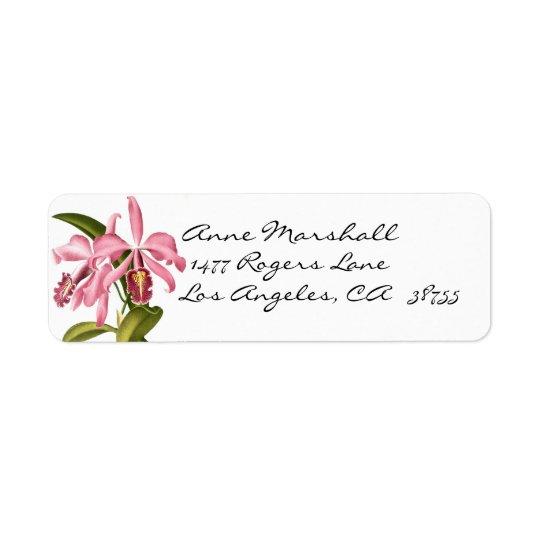 Vintager botanischer Orchideen Avery Aufkleber Rückversand-Adressaufkleber