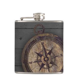 Vintager Brown-Kompass Flachmann