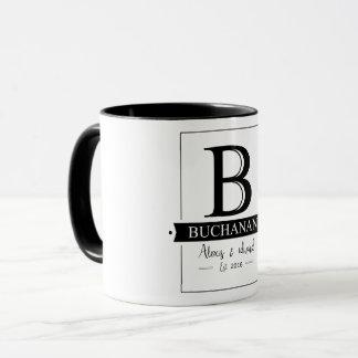 Vintager Buchstabe B Buchanan des Tasse