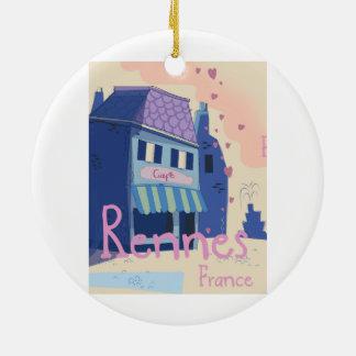 Vintager Cartoon Rennes Frankreich Keramik Ornament