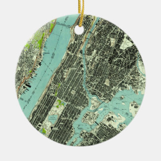 Vintager Central Park u. Bronx NY Map (1947) Keramik Ornament