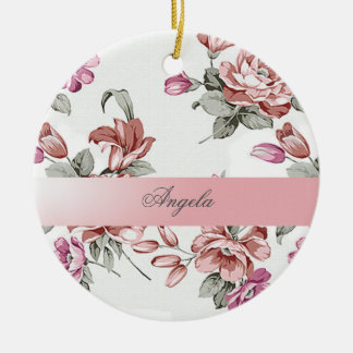 Vintager Chic Girly Blume-Personalisiertes Rundes Keramik Ornament