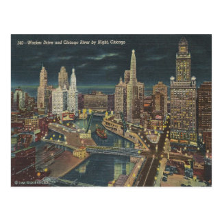 Vintager Chicago-NachtSkyline Postkarte