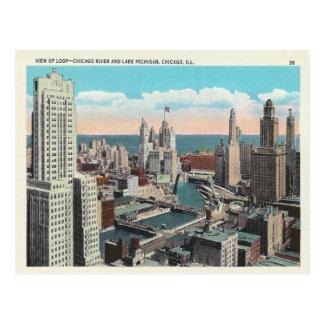 Vintager Chicago-SchleifeSkyline Postkarte