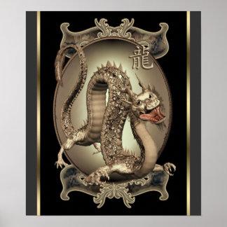 Vintager chinesischer Drache-Druck Poster
