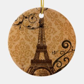 Vintager Damast böhmischer Turm Chic-Paris Eiffel Rundes Keramik Ornament