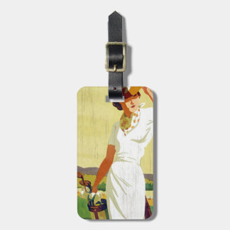 Vintager Dame Golfspieler Golf spielender Gepäckanhänger