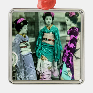 Vintager drei JungeGeisha in altem Japan Silbernes Ornament