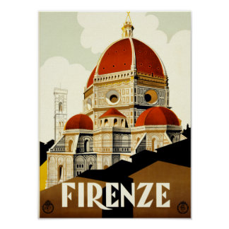 Vintager Druck ReiseFirenze Italien Poster