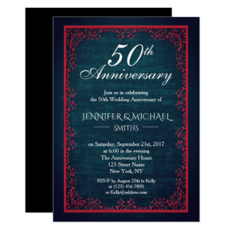 Vintager dunkler aquamariner Hochzeits-Jahrestag Karte