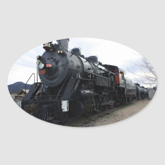 Vintager Eisenbahn-Dampf-Zug Ovaler Aufkleber