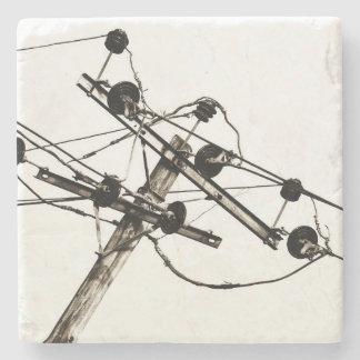 Vintager elektrischer Pole Steinuntersetzer