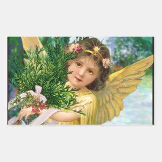 Vintager Engel im Schnee-Weihnachten Rechteckiger Aufkleber