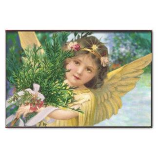 Vintager Engel im Schnee-Weihnachten Seidenpapier
