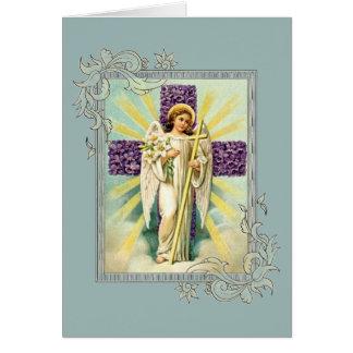 Vintager Engel mit lila Kreuz Karte