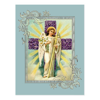 Vintager Engel mit lila Kreuz Postkarte