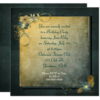 Vintager Entwurf für Geburtstags-Party Quadratische 13,3 Cm Einladungskarte