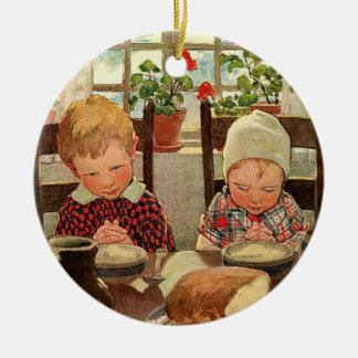 Vintager Erntedank, dankbare Kinder Keramik Ornament