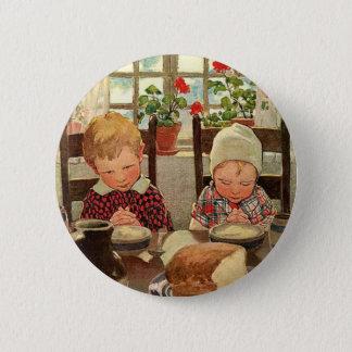 Vintager Erntedank, dankbare Kinder Runder Button 5,7 Cm