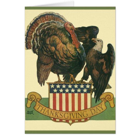 Vintager Erntedank die Türkei, Adler, Amercan Grußkarte