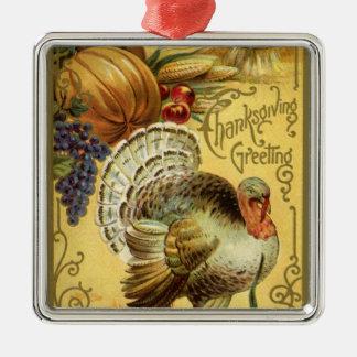 Vintager Erntedank-Gruß mit der Türkei Silbernes Ornament