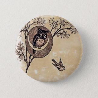 Vintager Eulen-Knopf Runder Button 5,7 Cm