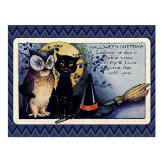 Vintager Eulen-und Katzen-Halloween-Gruß Postkarte