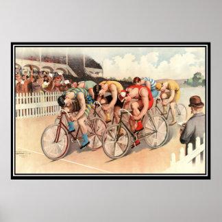 Vintager Fahrradrennen Plakat-Druck 1904 Poster