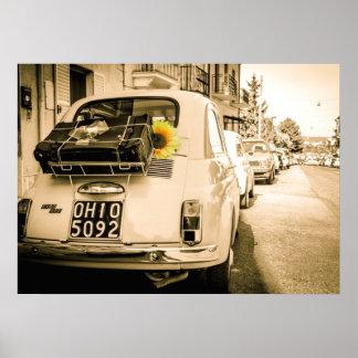 Vintager Fiat 500, Cinquecento, in Italien-Plakat
