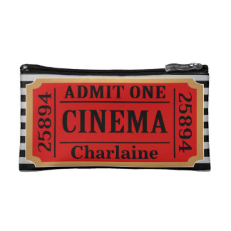 Vintager Film-Karten-Stummel u. Streifen mit Namen Makeup-Tasche