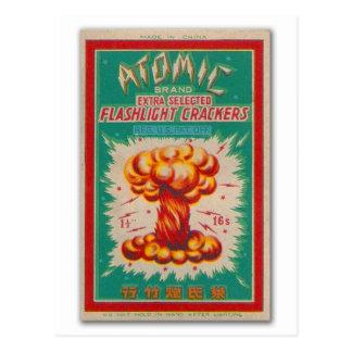 Vintager Firecracker-Feuerwerk-Aufkleber Postkarte