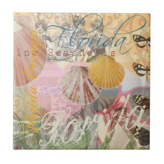 Vintager Florida-Reise-Strand-Muschel-Kunst-Druck Fliese