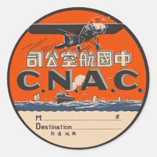 Vintager Flugzeugverkehr-Aufkleber Runder Aufkleber