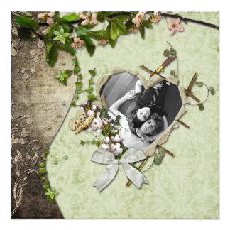 Vintager Foto-Herz-Ausschnitt Save the Date Karte