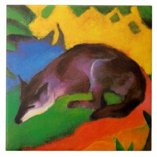 Vintager Franzmarc blauer schwarzer Fox Fliese