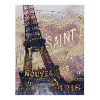 Vintager Franzose-Aufkleber und Eiffel-Turm Postkarte